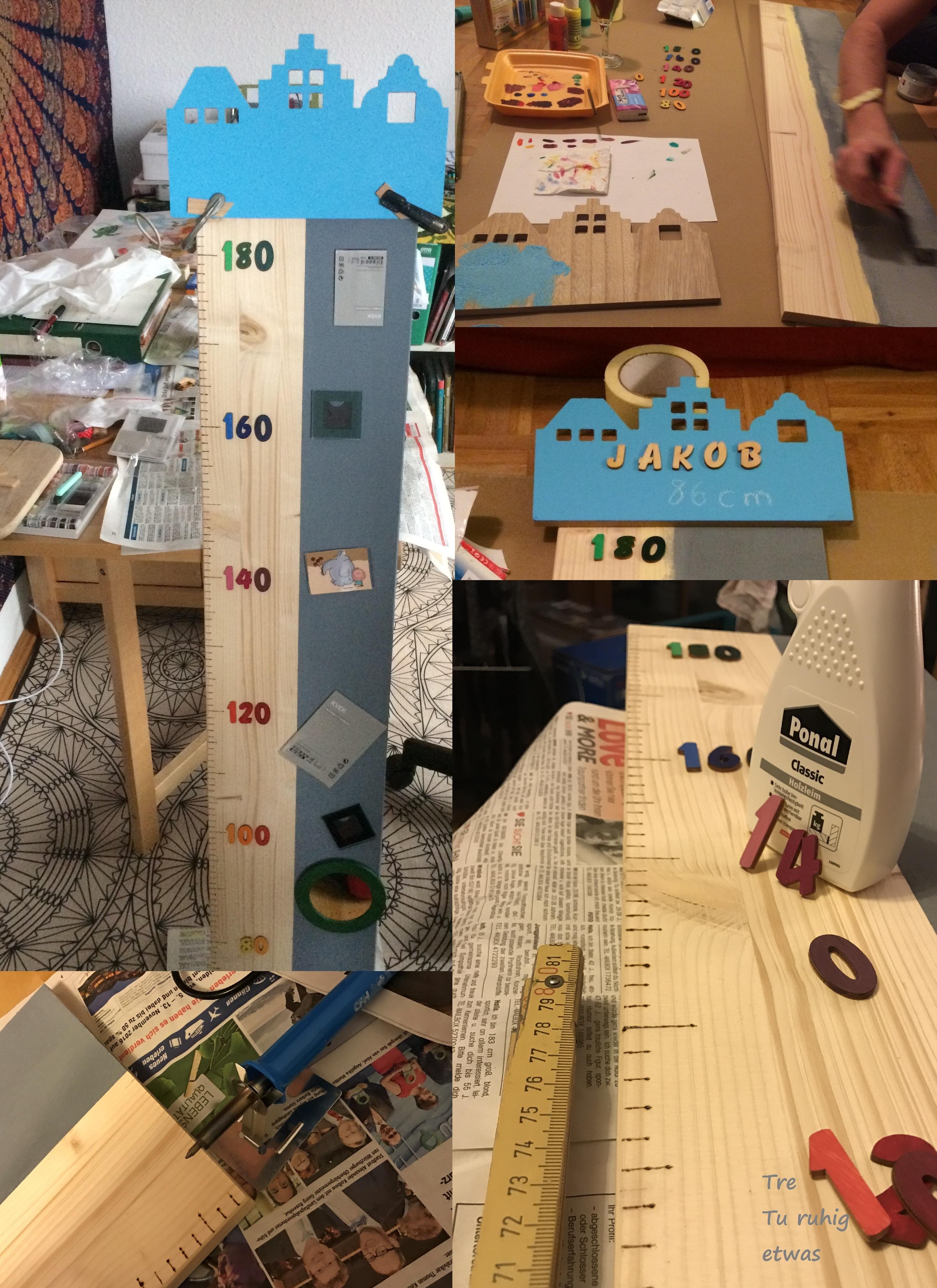 Kindermesslatte aus Holz selber machen DIY Growth Chart