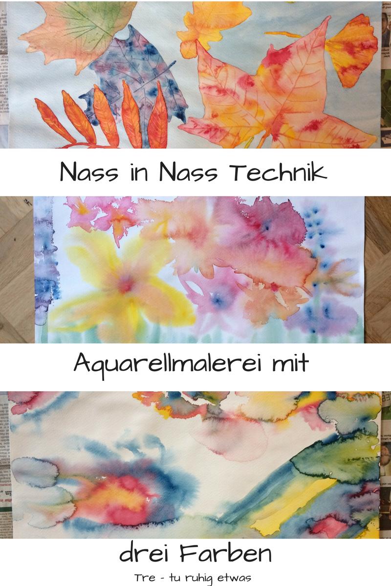 Aquarellmalerei mit drei Farben