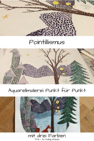 Aquarellmalerei Pointillismus