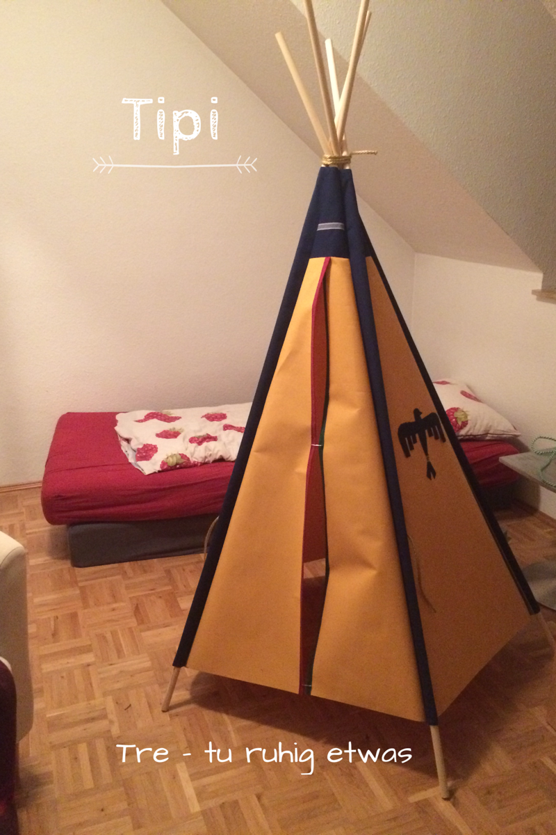 kinder tipi zelt f r drau en selber machen tre. Black Bedroom Furniture Sets. Home Design Ideas