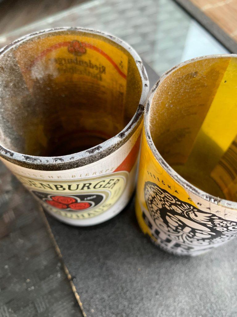 Bierflaschen-Gläser abschleifen