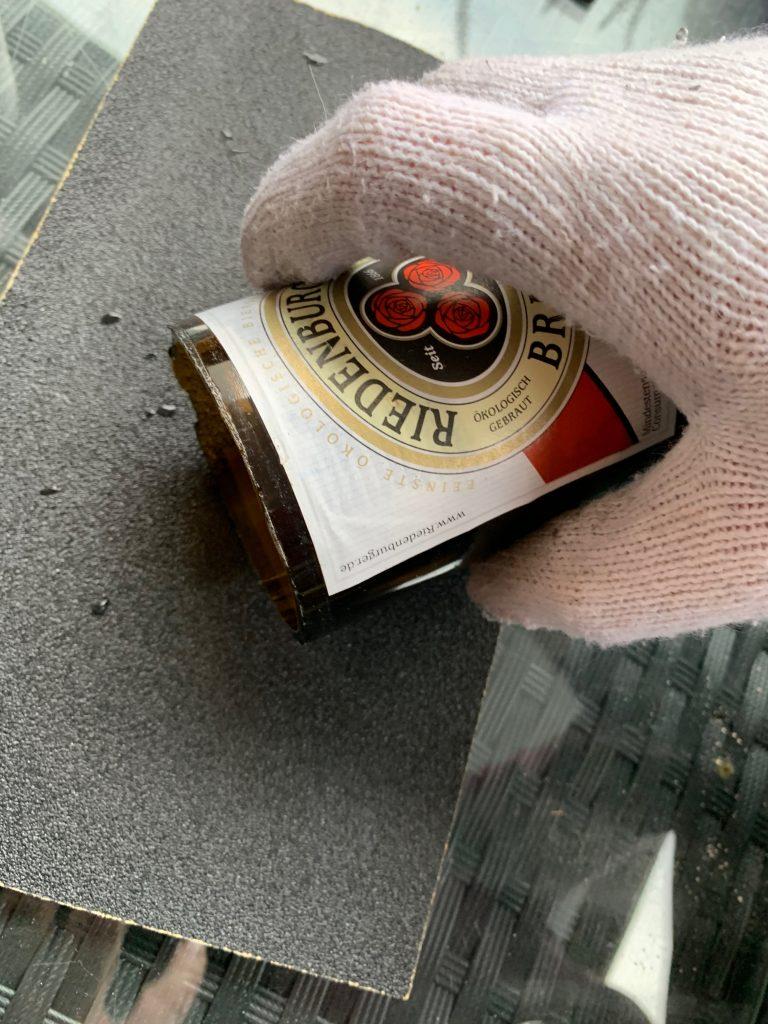 Bierflaschen Upcycling - Schleifen
