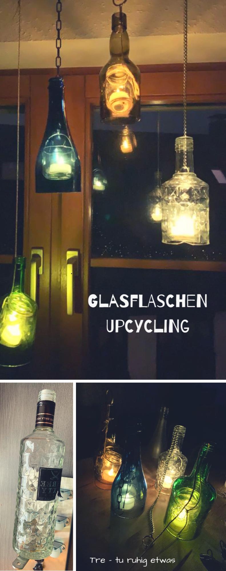 Glasflaschen Upcycling Glaslaternen