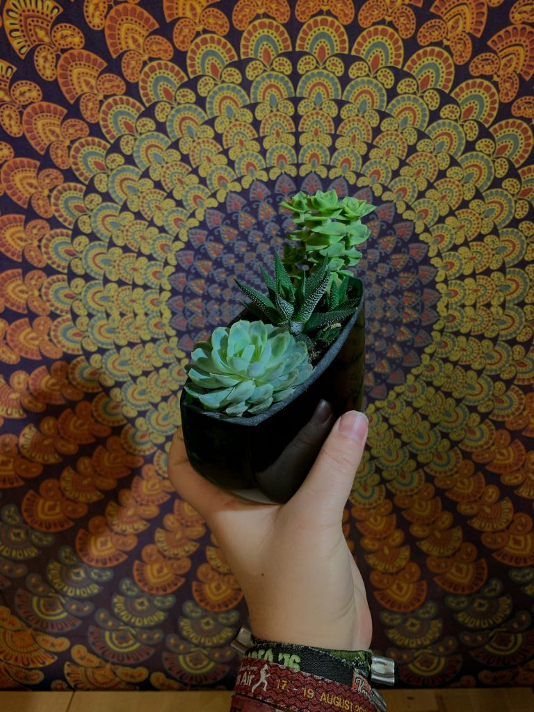 Bepflanzter Bocksbeutel